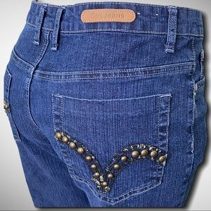 COS Denim High Waisted Jeans Studded Pockets 10P